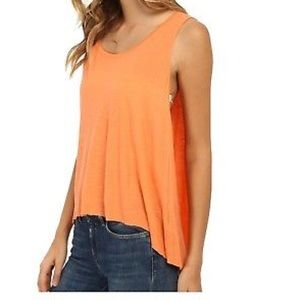 Free People Fluorescent Orange Flowy Tank Top
